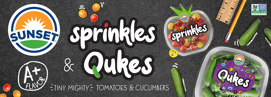 SUNSET® Launches New Sprinkles™, Tiny Mighty Tomatoes™, and Qukes™, Tiny Mighty Cucumbers™