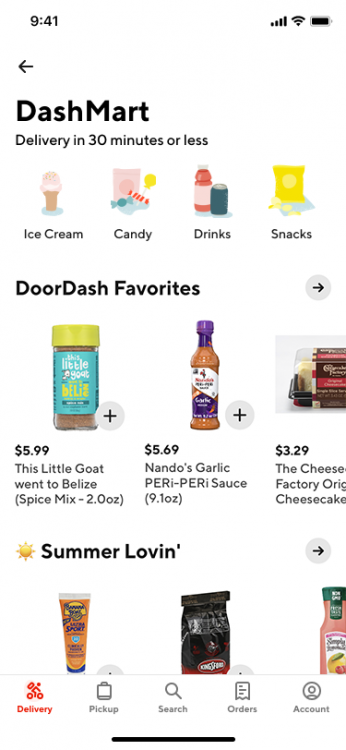 On DashMart, customers will find thousands of convenience, grocery, and restaurant items