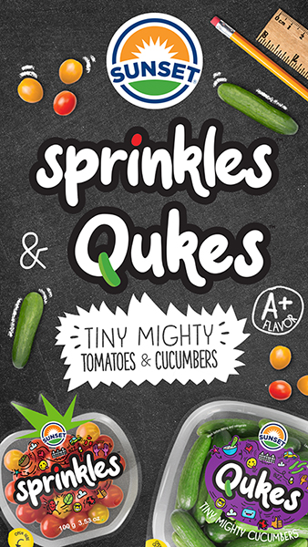 The company is showcasing its new line of lunchbox-worthy snacking vegetables: Sprinkles™, Tiny Mighty Tomatoes™, and Qukes™, Tiny Mighty Cucumbers™