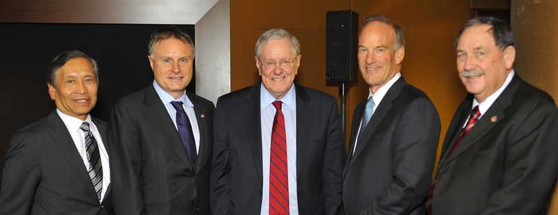 Left to Right: Salinas City Manager Ray Corpuz, John Hartnett, Steve Forbes, Bruce Taylor, Salinas Mayor Joe Gunter