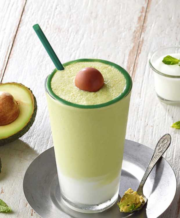 Avocado Blended Frappuccino resembles its namesake, with a dark green circle around the rim—an homage to the peel—and a chocolate ball acting as a faux pit