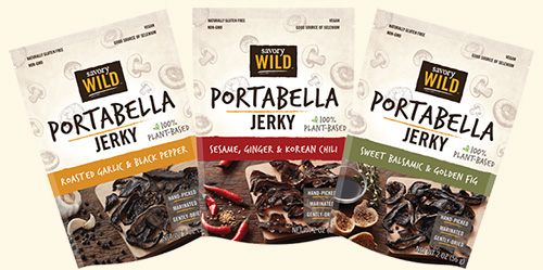 The new Savory Wild portabella jerky is a plant-based item for the healthy consumer