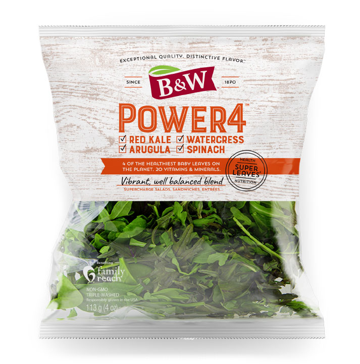 Power 4 includes peppery watercress, arugula, baby red leaf kale, and baby spinach