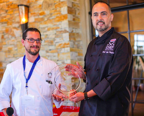 Last year's invitational winner, Chef Luis Reyes with Chef Dave Parker
