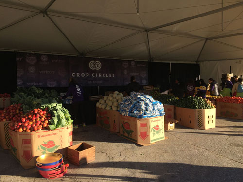 Produce provided at the Cfop Circles pop-up farmers market event in Baltimore, MD.