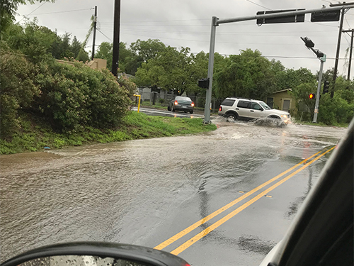 Texas flooding was seen on the streets. Photo courtesy of Dante Galeazzi.