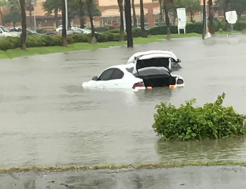 Some cars were almost completely submerged in the flooded areas. Photo courtesy of Dante Galeazzi.