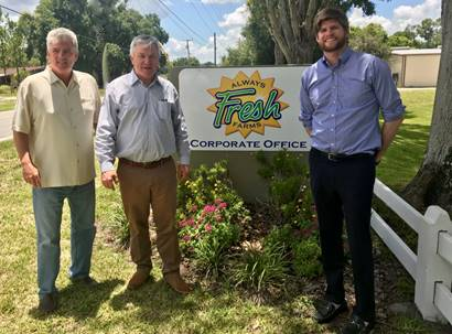 Left to Right - Wayne Giddings, President of Always Fresh Farms; Julio Giddings, Founder and CEO of Giddings Fruit; Matthew Giddings, Chief Commercial Officer, Always Fresh Farms