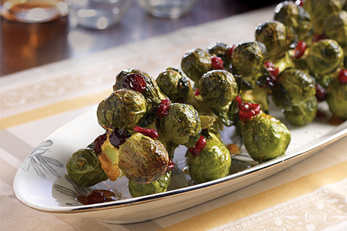 Brussels sprouts are easy to incorporate in holiday dishes, like the above roasted Brussels sprouts on the stalk
