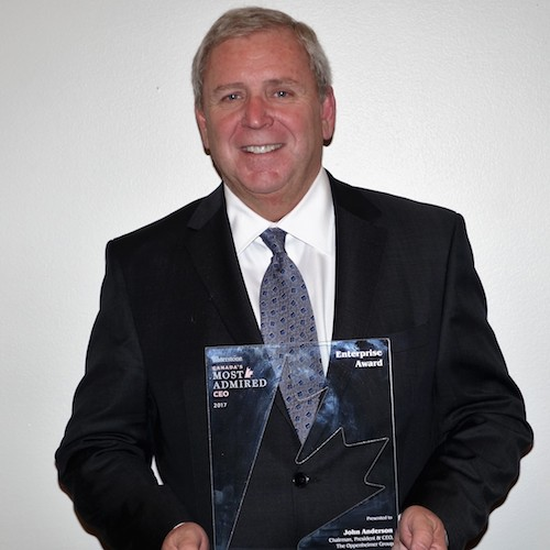 Oppy Chairman, President, and CEO John Anderson accepts Canada's Most Admired CEO recognition at a gala event March 1