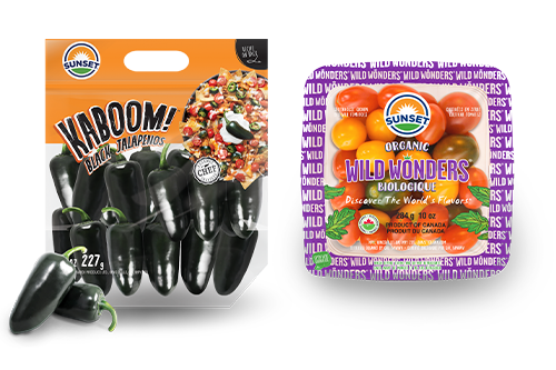 SUNSET also showcased its latest pepper innovation Kaboom!® black jalapenos, and its Wild Wonders® snacking tomatoes, now a part of the company's certified-organic lineup of greenhouse-grown produce