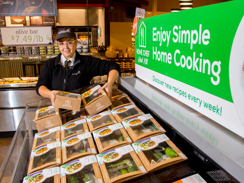 The in-store meal kits will include Home Chef's fresh, pre-portioned ingredients and recipes that are easy to prepare