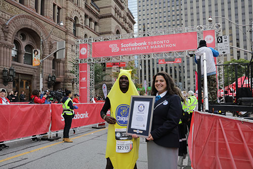 Melvin Nyairo blasts past the competition wearing a banana suit earning a Guinness World Record