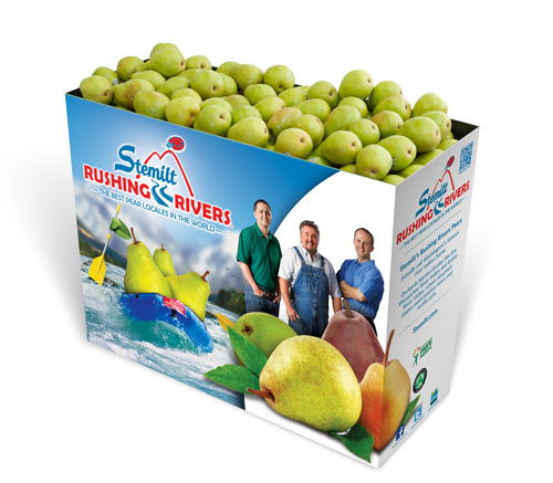To support pear category promotions, retailers can look to Stemilt's easy-to-set-up display bins and branded packaging that highlights the pear's origin