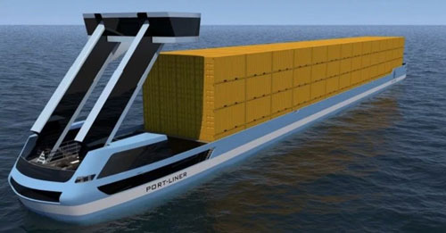 3D rendering of Port-Liners all-electric ship