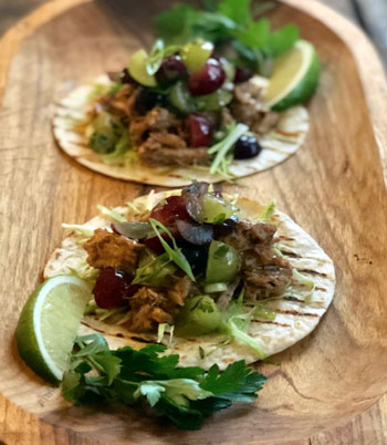 Click the for the Chipotle Pork Taco with California Grape Salsa recipe