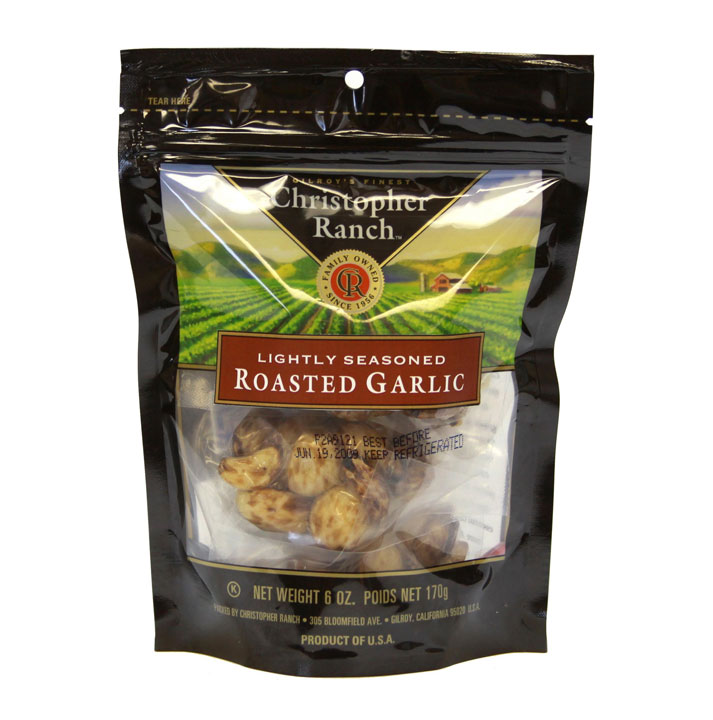 Christopher Ranch Roasted Garlic, roasted to a golden brown that is bursting with rich, nutty flavor