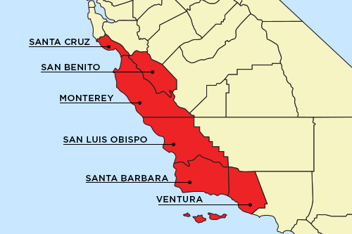 The FDA identified counties along the Central Coast of California to be the source of the outbreak