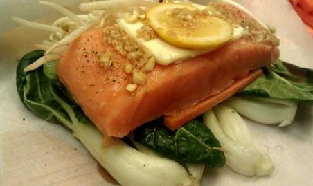 Garrett's Baby Bok Choy and Salmon En Papillote Recipe