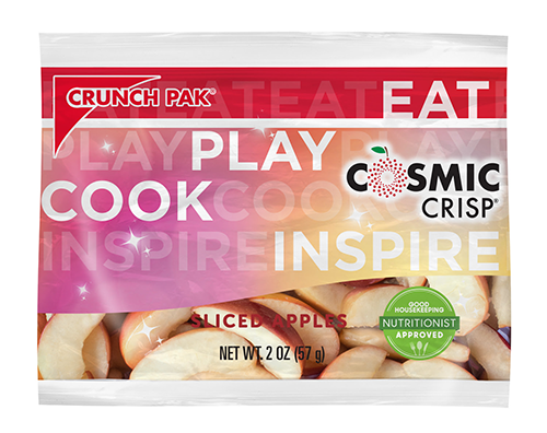 Cosmic Crisp® fresh-cut apple pouch bags will be available through Crunch Pak