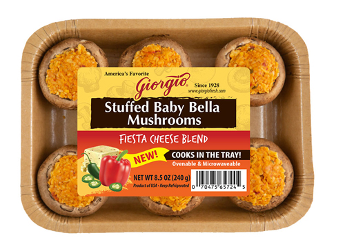 Giorgio's stuffed mushroom lines comes in microwaveable and ovenable trays