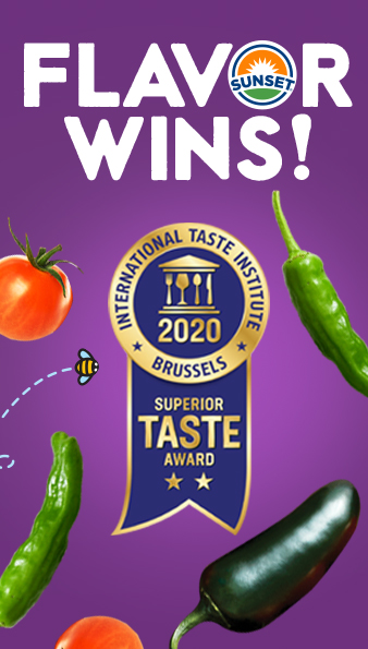 SUNSET® has achieved a trifecta of flavor awards for the company's newest produce innovations: Honey Bombs™ golden cherry tomatoes on-the-vine, Shazam!™ shishito peppers, and Kaboom!® black jalapenos