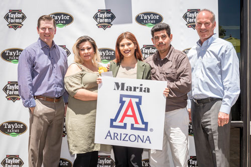 Maria Fernanda Garcia is pursuing a degree in medicine from the University of Arizona. Maria's father, Raul Garcia is a Taylor Farms employee.