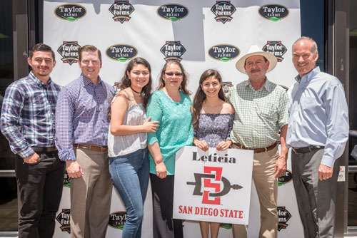 Leticia Isabel Cardenas will be pursuing her undergraduate degree at San Diego State University in the Fall. Leticia is pictured with her family, including both of her parents, Elias and Leticia Cardenas, who are both Taylor Farms employees. Also pictured are Mark Campion and Bruce Taylor of Taylor Farms.