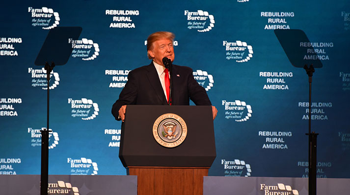 President Donald Trump addressing the American Farm Bureau at the 2018 convention in Nashville, TN