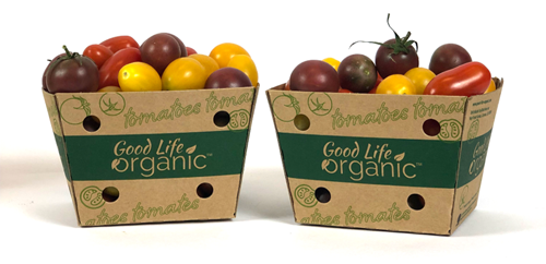 Veg-Fresh's new packaging is made out of non-bleached, lightweight, 100-percent recycled paperboard