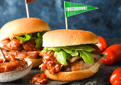 These craveable pork belly and tomato jam sliders are sure to score and will have your team going for two!