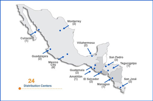 Walmart's current distribution locations in Mexico and Central America