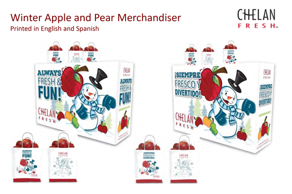 Chelan Fresh brought back last year's festive holiday merchandiser and its eye-catching graphics will instantly catch consumers' eyes