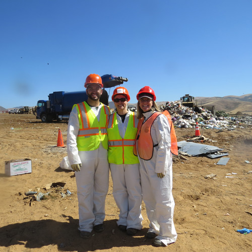 Wyatt Maysey, Senior Account Manager at MTI; Mandy Brooks, Resource Recovery Manager at Salinas Valley Recycles; and Nikki Rodoni, Founder and CEO of MTI, during a recent a waste audit